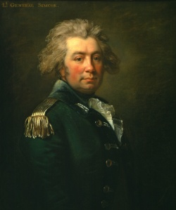 John Graves Simcoe, Lt. Colonel of the Queen's Rangers, who wore green rather than red coats.